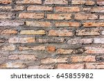 brown brick wall in an old... | Shutterstock . vector #645855982