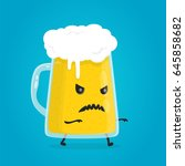 zombie glass of beer. angry ... | Shutterstock .eps vector #645858682