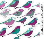 lila and turquoise birds... | Shutterstock .eps vector #645861832