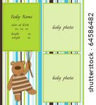 baby arrival card with photo... | Shutterstock .eps vector #64586482