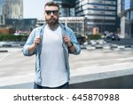young attractive bearded... | Shutterstock . vector #645870988
