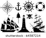 Set Of Nautical Icons Isolated...