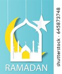 ramadan background. paper cut... | Shutterstock .eps vector #645873748