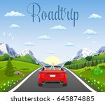 highway drive with beautiful... | Shutterstock .eps vector #645874885