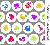 seamless pattern with funny... | Shutterstock .eps vector #645879592