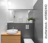 small grey and white bathroom... | Shutterstock . vector #645882442