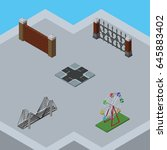 isometric urban set of barrier  ... | Shutterstock .eps vector #645883402
