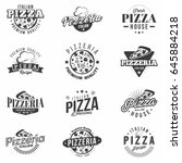 pizza badges set. retro... | Shutterstock .eps vector #645884218
