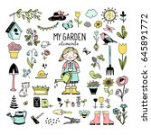 girl and garden elements ...   Shutterstock .eps vector #645891772