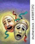 happy and sad theater masks ... | Shutterstock . vector #645897292