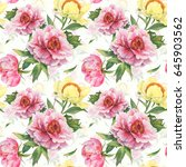 romantic seamless pattern with... | Shutterstock . vector #645903562