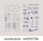 flat linear city infographic....   Shutterstock .eps vector #645907786