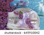 tableware and silverware with... | Shutterstock . vector #645910042