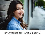 portrait of a beautiful... | Shutterstock . vector #645911542