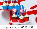 candy bar on boy's birthday... | Shutterstock . vector #645911632