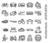 vehicle icons set. set of 25... | Shutterstock .eps vector #645918556