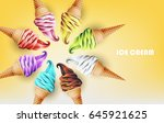 colorful ice cream cone in form ... | Shutterstock .eps vector #645921625