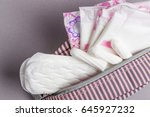 menstrual tampons and pads in... | Shutterstock . vector #645927232