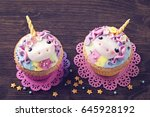 unicorn cupcakes for a party | Shutterstock . vector #645928192
