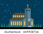 church in starry night. global... | Shutterstock .eps vector #645928726
