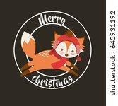 cute animal merry christmas... | Shutterstock .eps vector #645931192