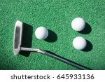 mini golf scene with ball and... | Shutterstock . vector #645933136