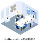 isometric business coaching... | Shutterstock .eps vector #645934036