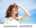 gorgeous middle aged woman with ... | Shutterstock . vector #645935518