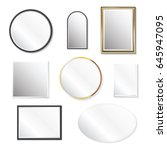 set of realistic mirrors ... | Shutterstock .eps vector #645947095