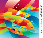 Abstract Colorful Fishes Near...