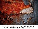 peeling paint rusting metal... | Shutterstock . vector #645963025