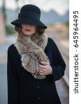 retro vintage mysterious woman | Shutterstock . vector #645964495