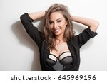 portrait of a sensual young... | Shutterstock . vector #645969196