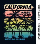 california malibu beach vector... | Shutterstock .eps vector #645969586