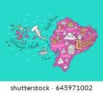 cartoon map of ecuador and... | Shutterstock .eps vector #645971002