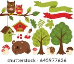 vector summer forest set with... | Shutterstock .eps vector #645977626