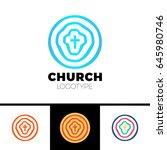 church logo. christian symbols. ... | Shutterstock .eps vector #645980746