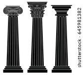 stylized greek columns. doric.... | Shutterstock .eps vector #645981382