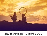 kid silhouette moments of the... | Shutterstock . vector #645988066