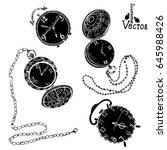watch set. hand drawn vintage... | Shutterstock .eps vector #645988426