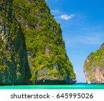 idyllic island blue seascape  | Shutterstock . vector #645995026