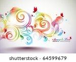 colorful vector floral element