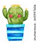 cute cactus watercolor... | Shutterstock . vector #645997606