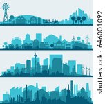 city skyline sets | Shutterstock .eps vector #646001092