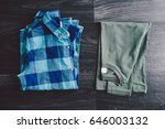 casual clothes on the gray... | Shutterstock . vector #646003132