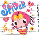 cute cartoon spider girl... | Shutterstock .eps vector #646003726