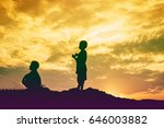 kid silhouette moments of the... | Shutterstock . vector #646003882