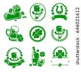 leaf clover labels and elements ... | Shutterstock .eps vector #646021612