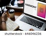 hands working on laptop network ... | Shutterstock . vector #646046236