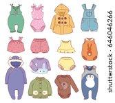 set of seasonal infant clothes... | Shutterstock .eps vector #646046266